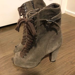 Sam Edelman Lace Up Peep Toe Combat Boots